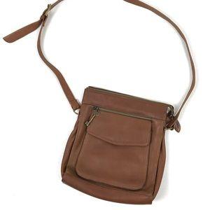 Fossil Cognac leather crossbody bag purse